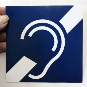 Pictogramme autocollant de l'oreille barrée